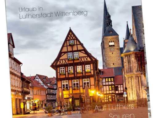 Flyer Vorlage Ferienwohnung – Wittenberg Lutherstadt, 148×148 mm, 6 Seiten, Wickelfalz