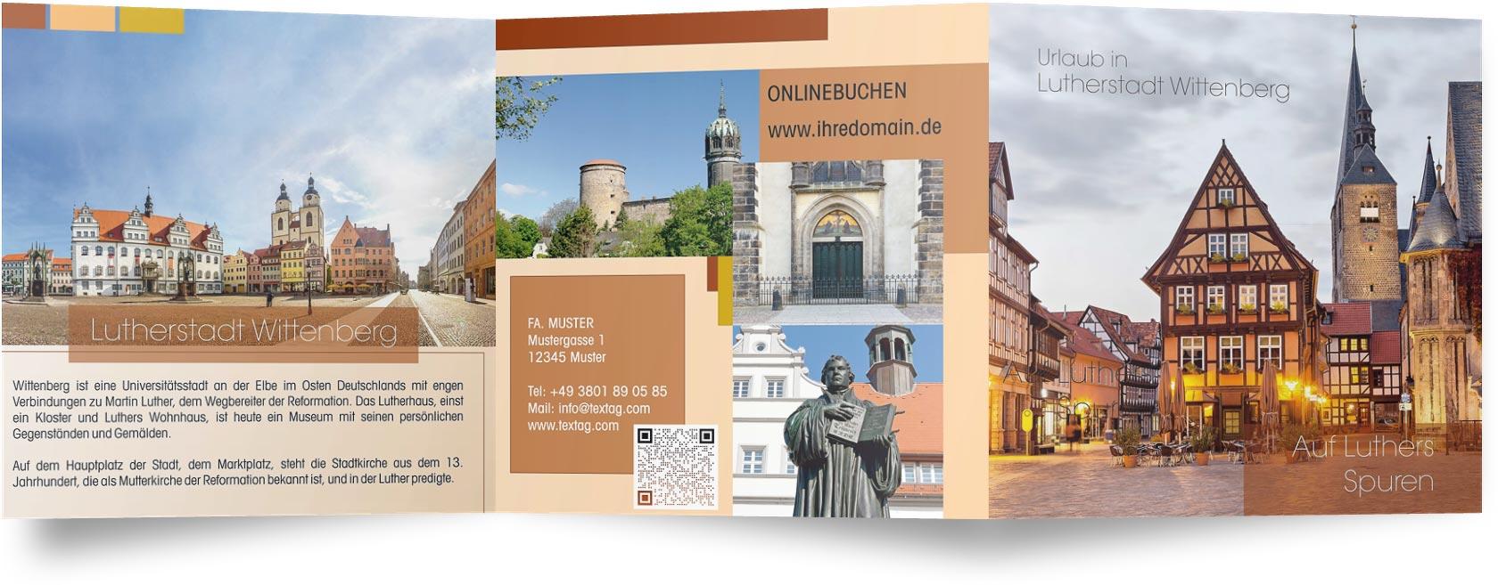 Flyer Vorlage Ferienwohnungen in Wittenberg Lutherstadt