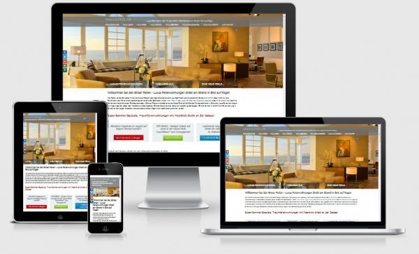 Responsive Website Referenz Ferienwohnungen Binzer Perlen