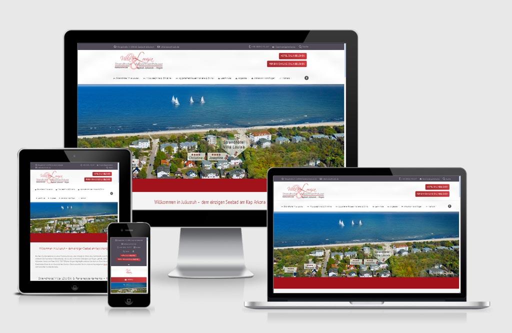 Referenz Responsive Webdesign - Villa Louisa, Rügen