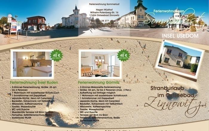 Flyer Ferienwohnung Referenzen: Ferienwohnung Sommerlust, Flyer DIN lang, 6-seitig
