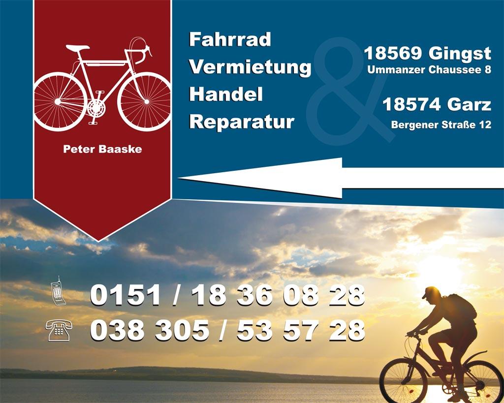 Grafik & Design Referenzen: Fahrrad Vermietung Baaske, Werbe- und Firmenschilder