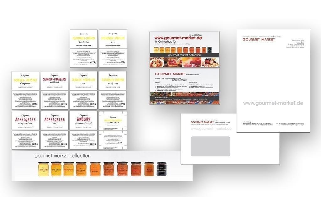 Grafik & Design Referenzen: Gourmet Market: CD Entwicklung, Erstellung von exklusiven Drucksorten & Etiketten mit Heißfolienprägung auf transparenter Folie