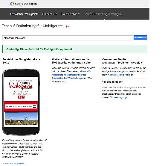 Website Google-Test auf Optimierung für Mobilgeräte