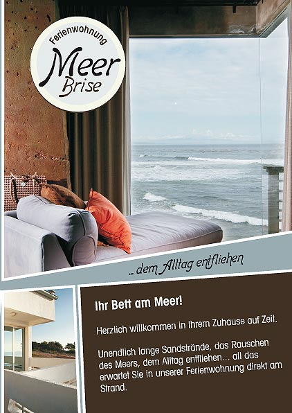 Design Vorlage Flyer für Ferienwohnung