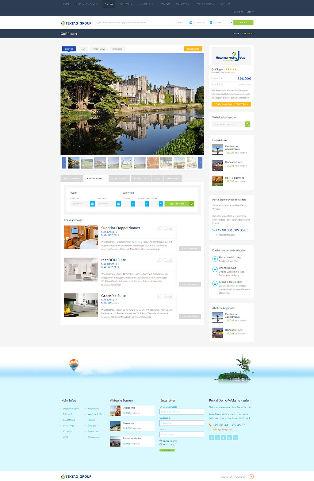 Responsive Hotel Resort Website Design Vorlage » TEXTAG GROUP ...