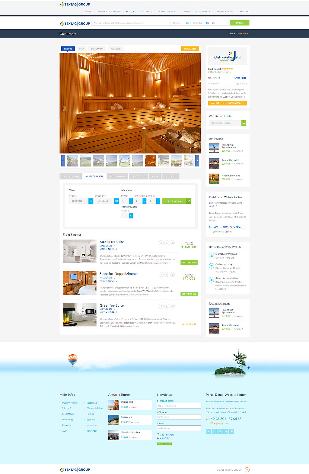 Responsive Hotel Resort Website Design Vorlage Textag Group