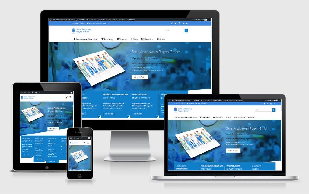 Responsive Webdesign Referenz: Sana Arztpraxen Rügen GmbH, Bergen auf Rügen.