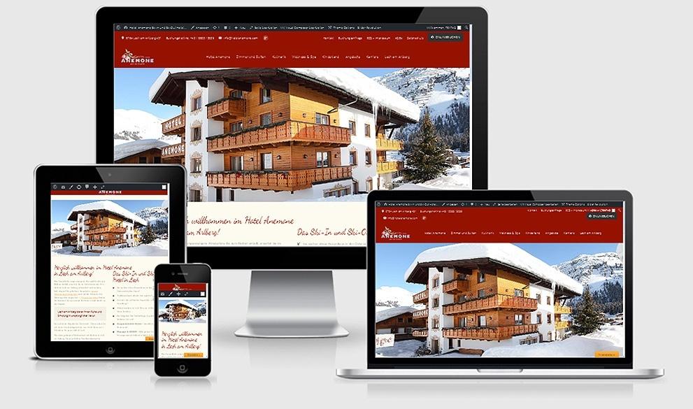 Reponsive Webdesign Referenz: Hotel Anemone****, Lech am Arlberg - in Bearbeitung