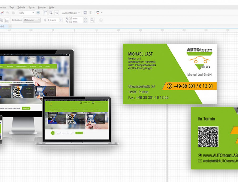 Grafik & Design Referenzen: Visitenkarte, AUTOteamLAST, Putbus