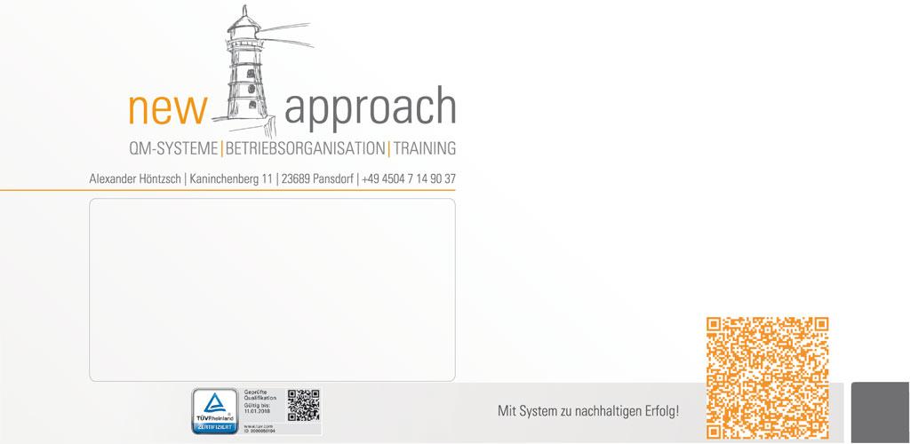 Grafik & Design Referenzen - Geschäftsdrucksorten: new | approach QM-Systeme, Betriebsorganisation