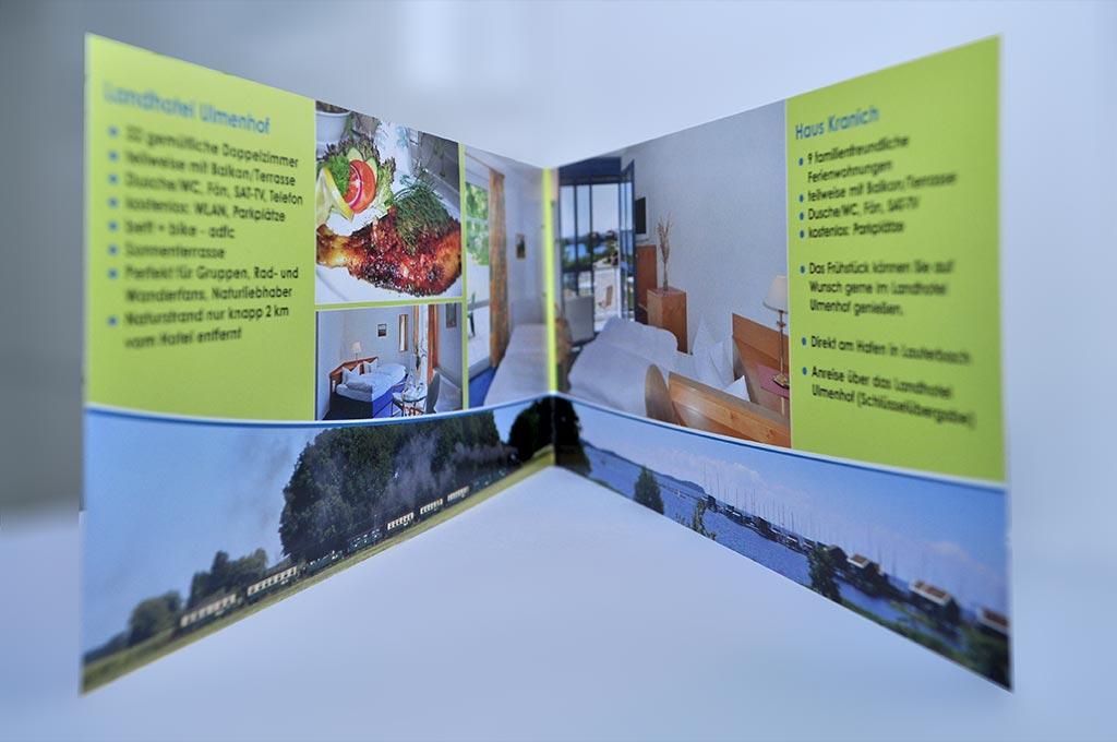 Grafik & Design Referenzen: Flyer DIN lang, 4-seitig Landhotel Ulmenhof, Putbus, OT Vilmnitz