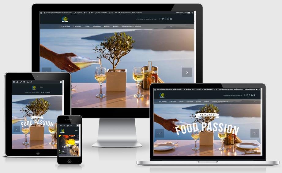 Responsive One Page / Website: Demo Vorlage z.B. für Restaurants oder Cafes