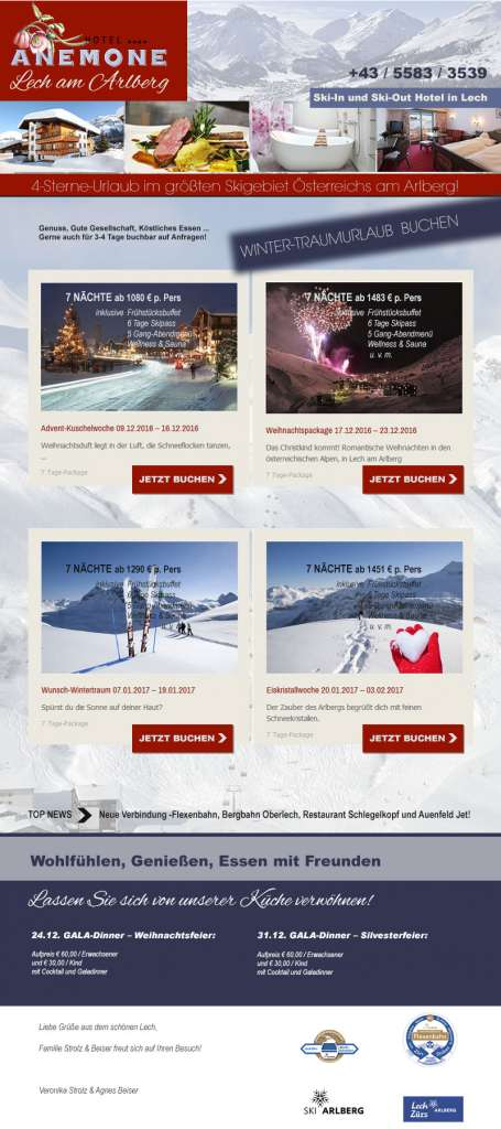 Newsletter Design, Hotel Anemone****, Lech am Arlberg, AT