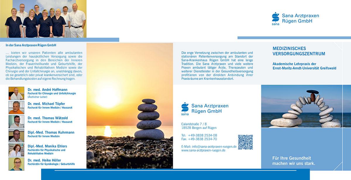 Grafik & Design Referenzen: Flyer DIN lang, Sana Arztpraxen Rügen GmbH, Bergen