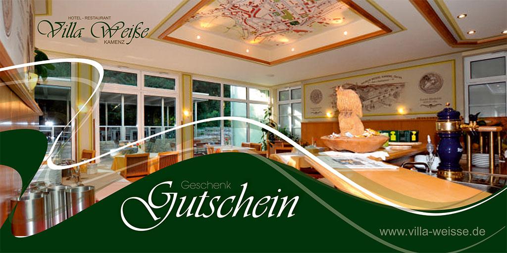 Grafik & Design Referenze - Gutschein - Hotel-Restaurant Villa Weiße, Kamenz