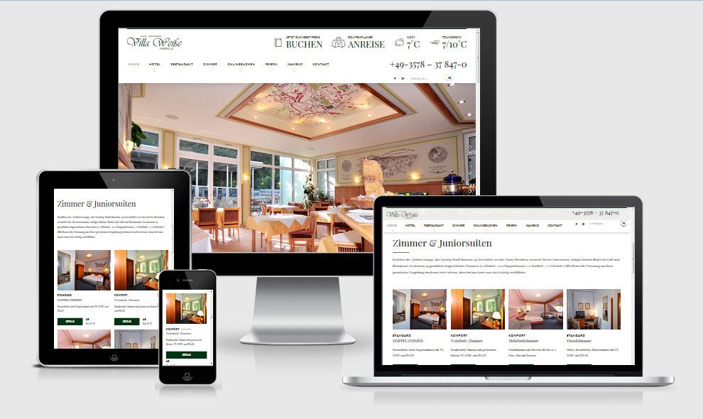 Responsive Webdesign Referenz - Hotel Restaurant Villa Weiße, Kamenz