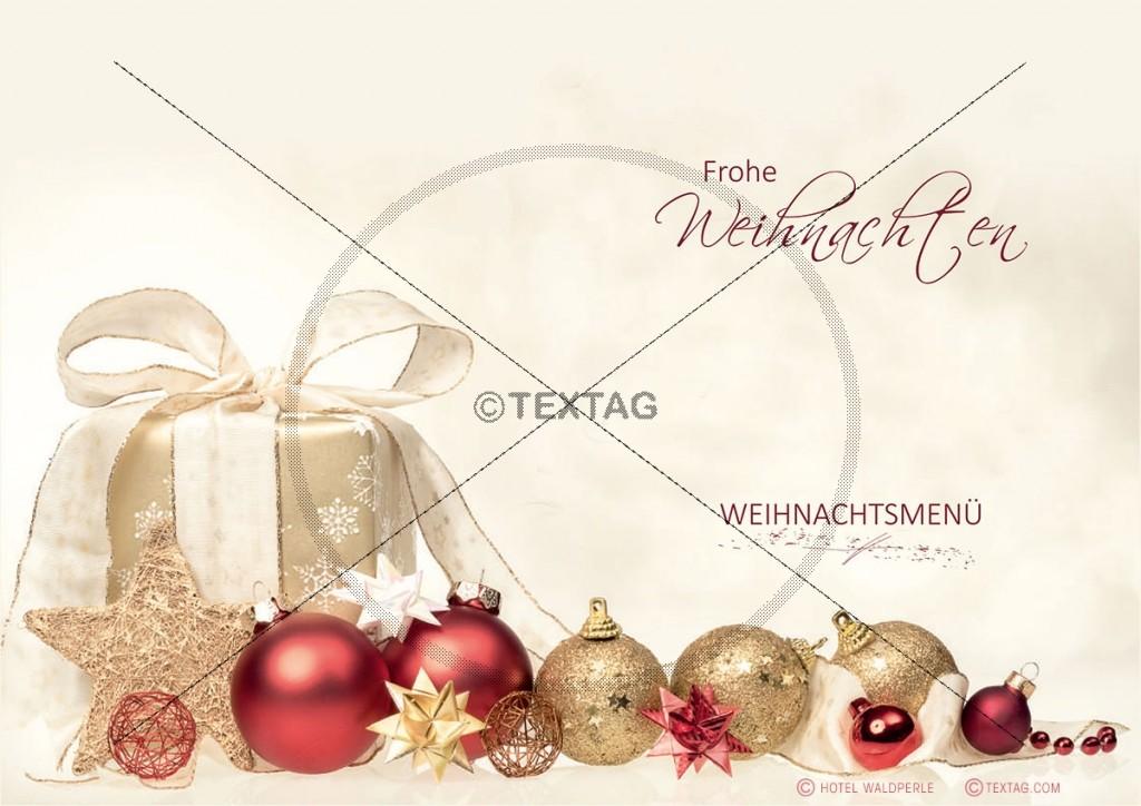 Textgestaltung Weihnachtsmenü-Karte, Hotel Waldperle, Göhren
