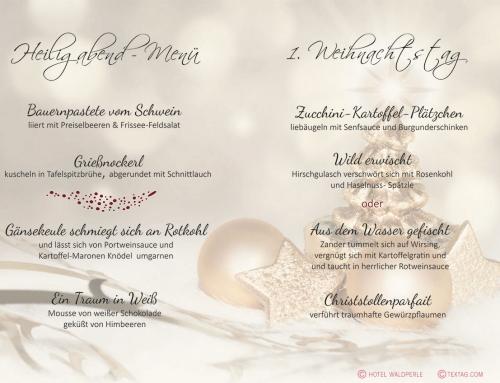 Textgestaltung Weihnachtsmenü-Karte