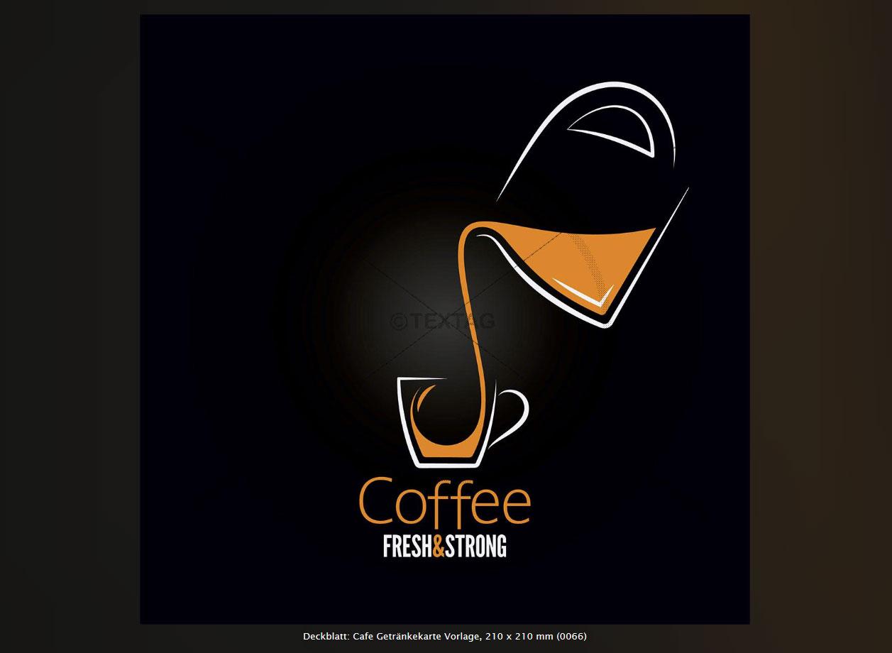Deckblatt: Cafe Getränkekarte Vorlage, 210 x 210 mm (0066)