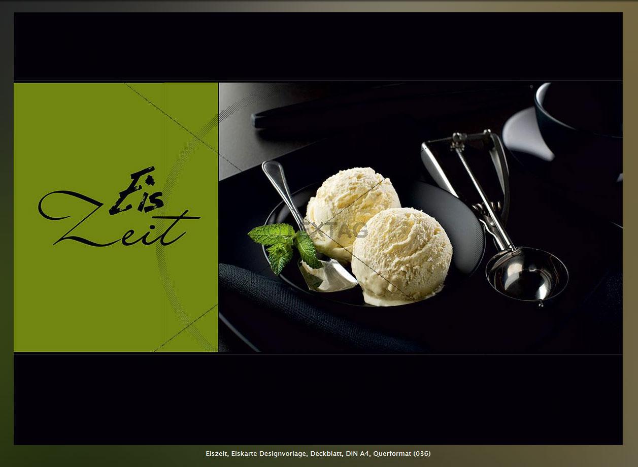 Eiszeit, Eiskarte Designvorlage, Deckblatt, DIN A4, Querformat (036)