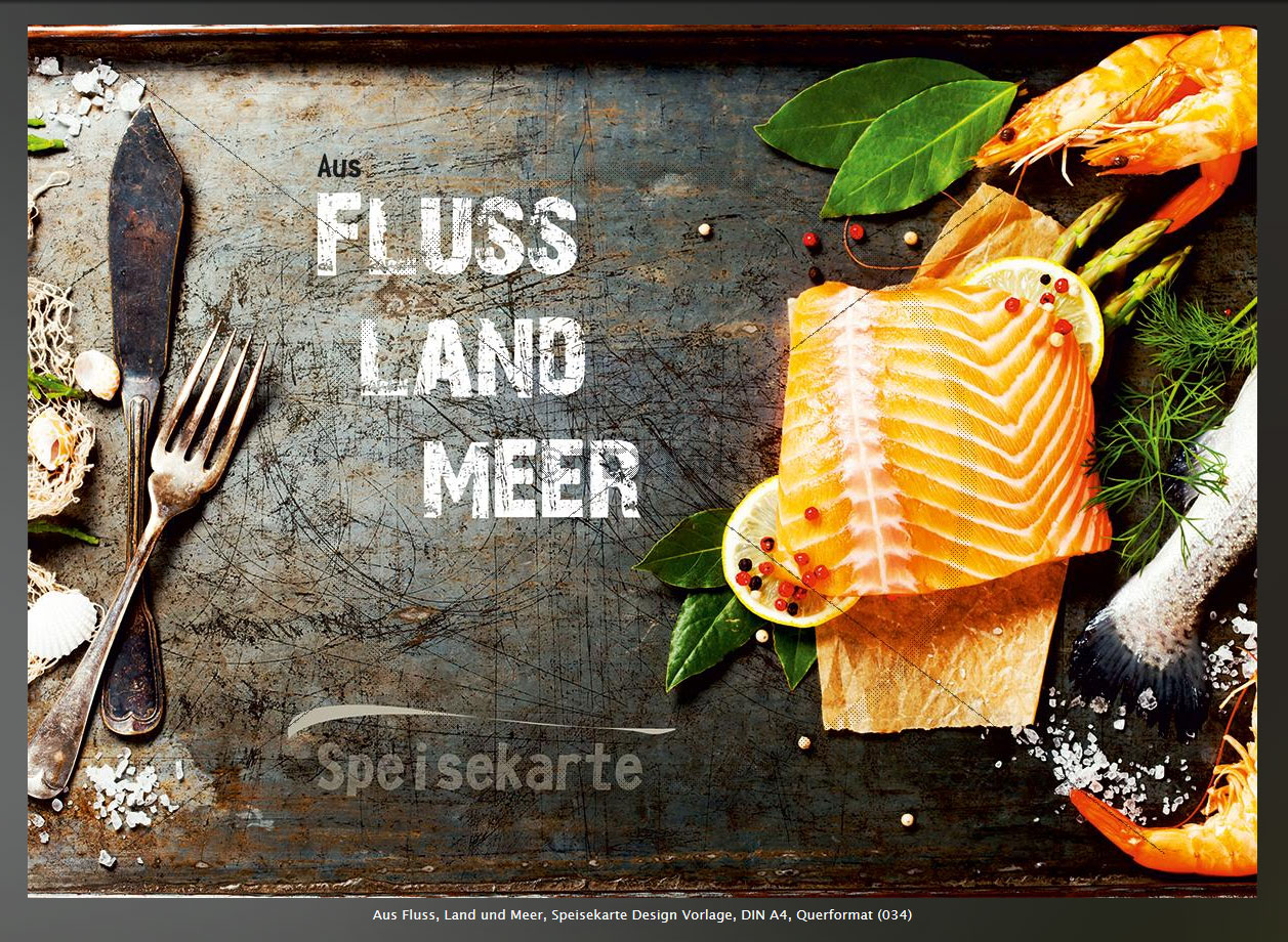 Fischrestaurant Speisekarte Design Vorlage, DIN A4, Querformat (034) Aus Fluss, Land und Meer,