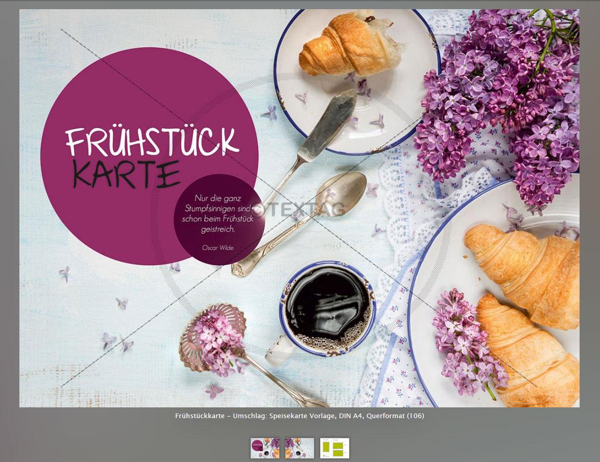 Frühstückskarte – Umschlag: Speisekarte Vorlage, DIN A4, Querformat (106)
