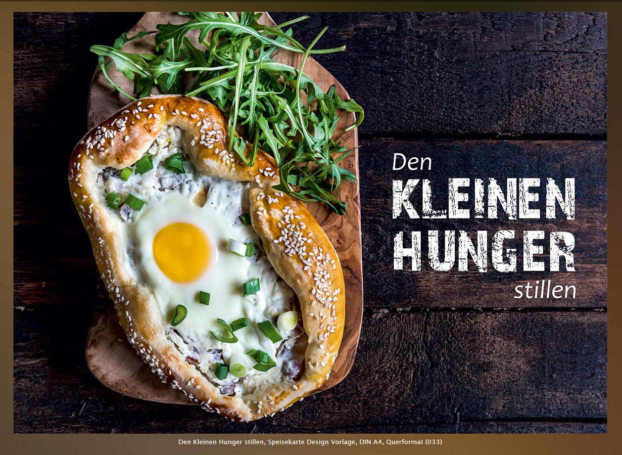 Den Kleinen Hunger stillen, Speisekarte Design Vorlage, DIN A4, Querformat (033)