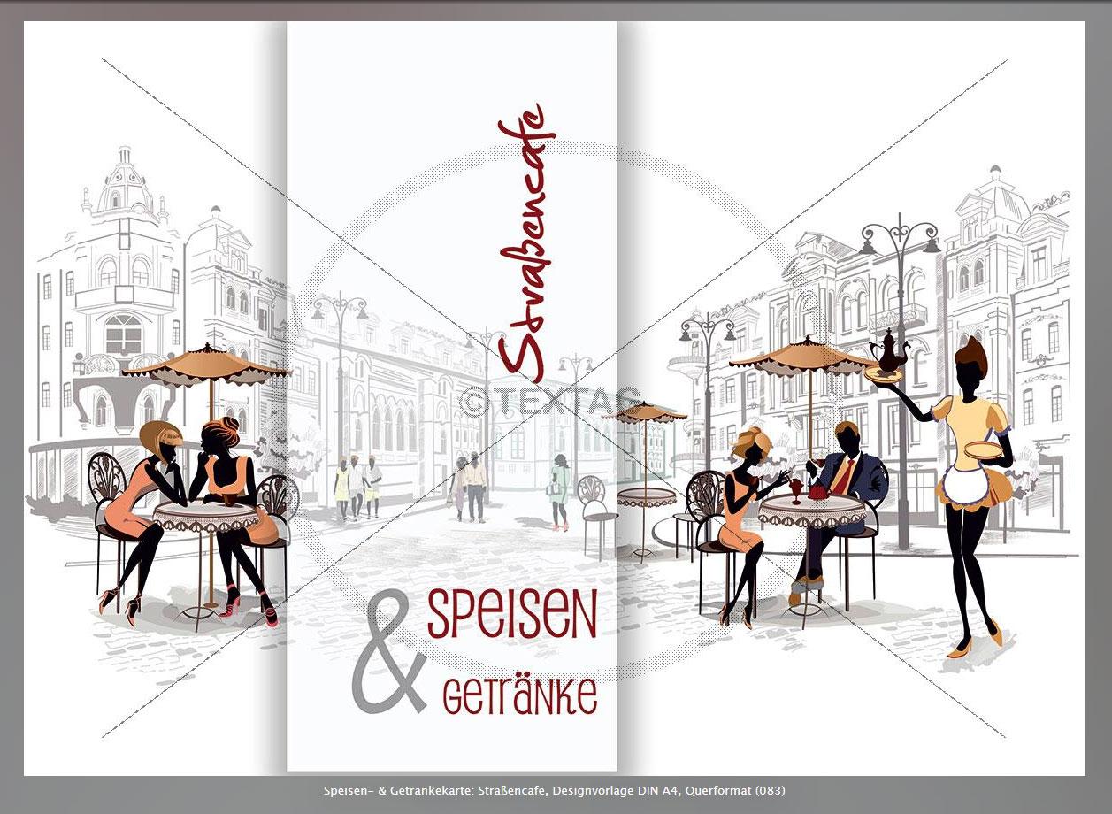 extravagante speisekarten getrnkekarten designvorlagen straencafe designvorlage din a4 querformat 083 - Getrankekarte Muster