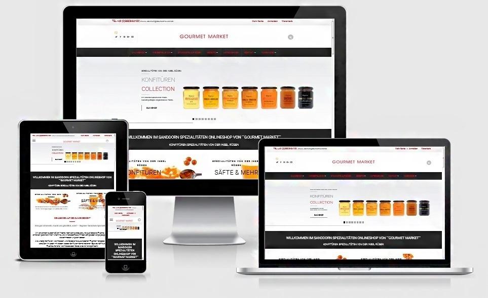 Webdesign Referenz: Redesign Onlineshop Gourmet Market, Südfruchthandel Eichler, Göhren