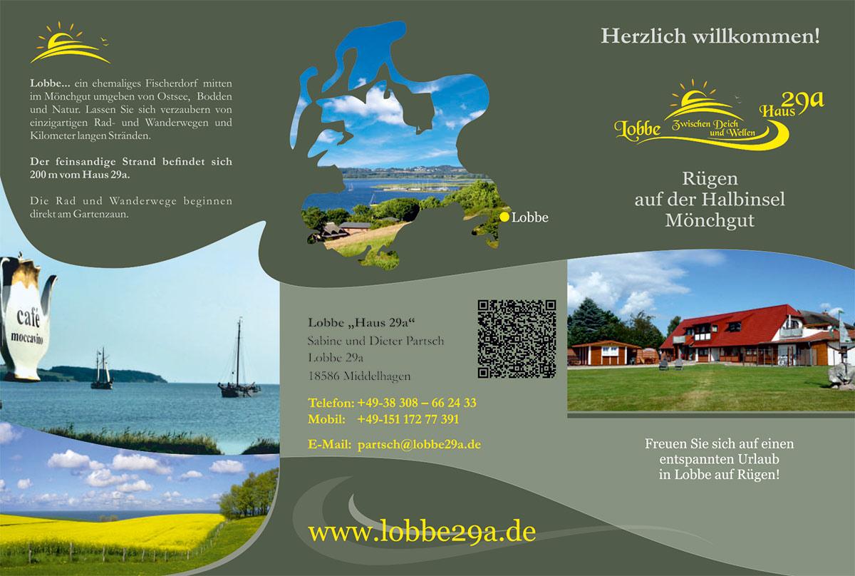 Grafik & Design Referenzen: Ferienwohnung Lobbe Hause 29a, Rügen - Flyer-DIN-lang-6-seitig- Innen,
