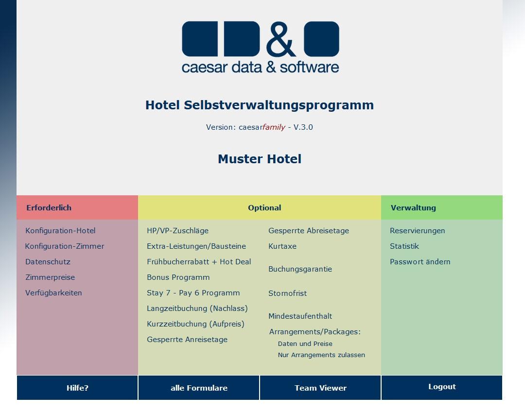 caesar-data Onlinebuchungstool in Echtzeit