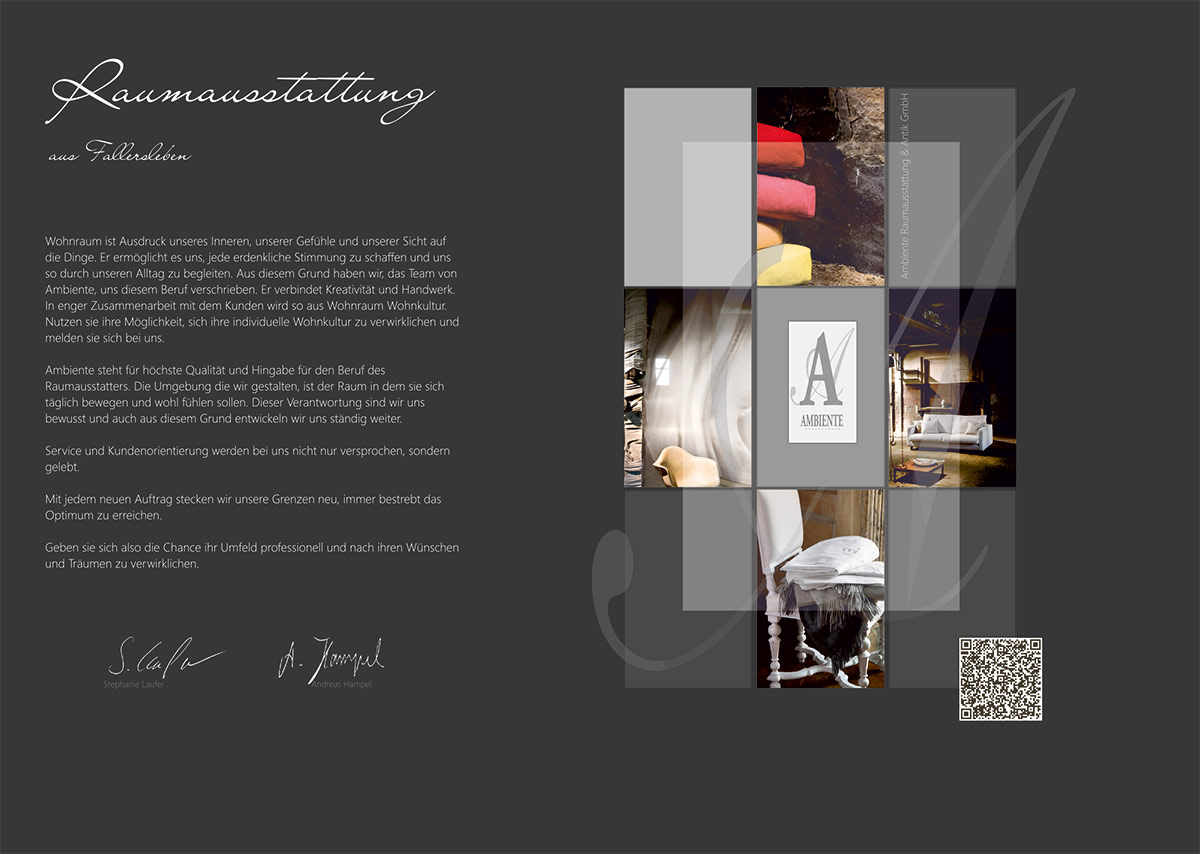 Grafik & Design Referenz Präsentationsmappe DIN A4 mit partieller Lackierung, Ambiente Raumausstattung Wolfsburg