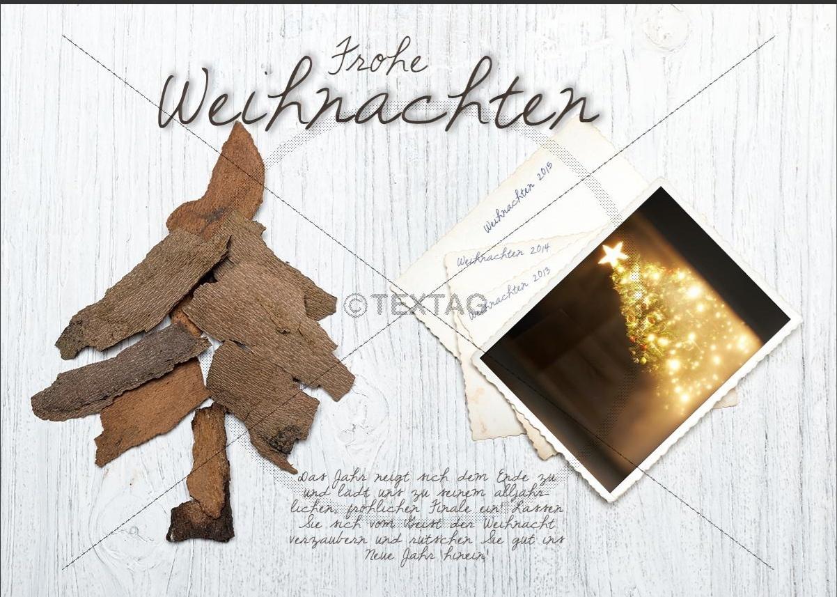 nostalgische weihnachts ecard mit christbaum aus holz 232. Black Bedroom Furniture Sets. Home Design Ideas
