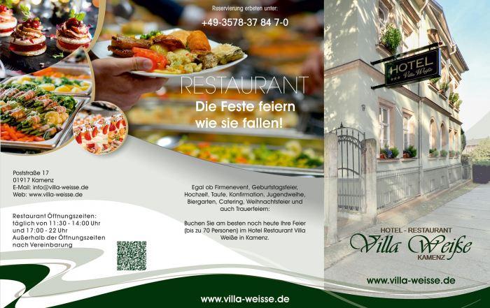 Grafik & Design Referenzen: Flyer Hotel-Restraunt Villa Weiße, Kamenz