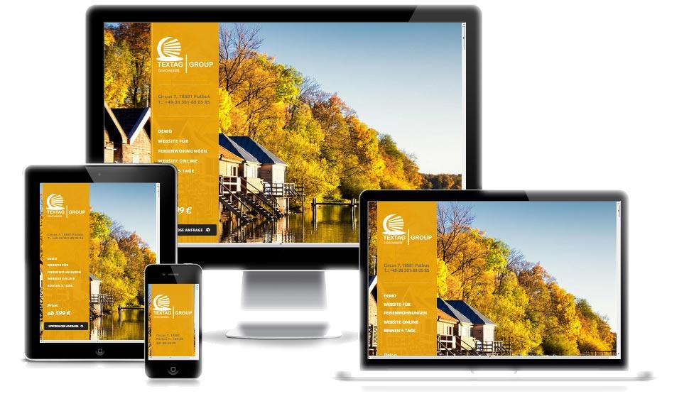 Responsive Website für Ferienwohnungen: One Page Webdesign Vorlage