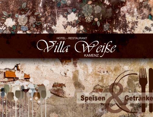 Speisekarten Design  Referenz – Hotel-Restaurant Villa Weiße GmbH – Kamenz