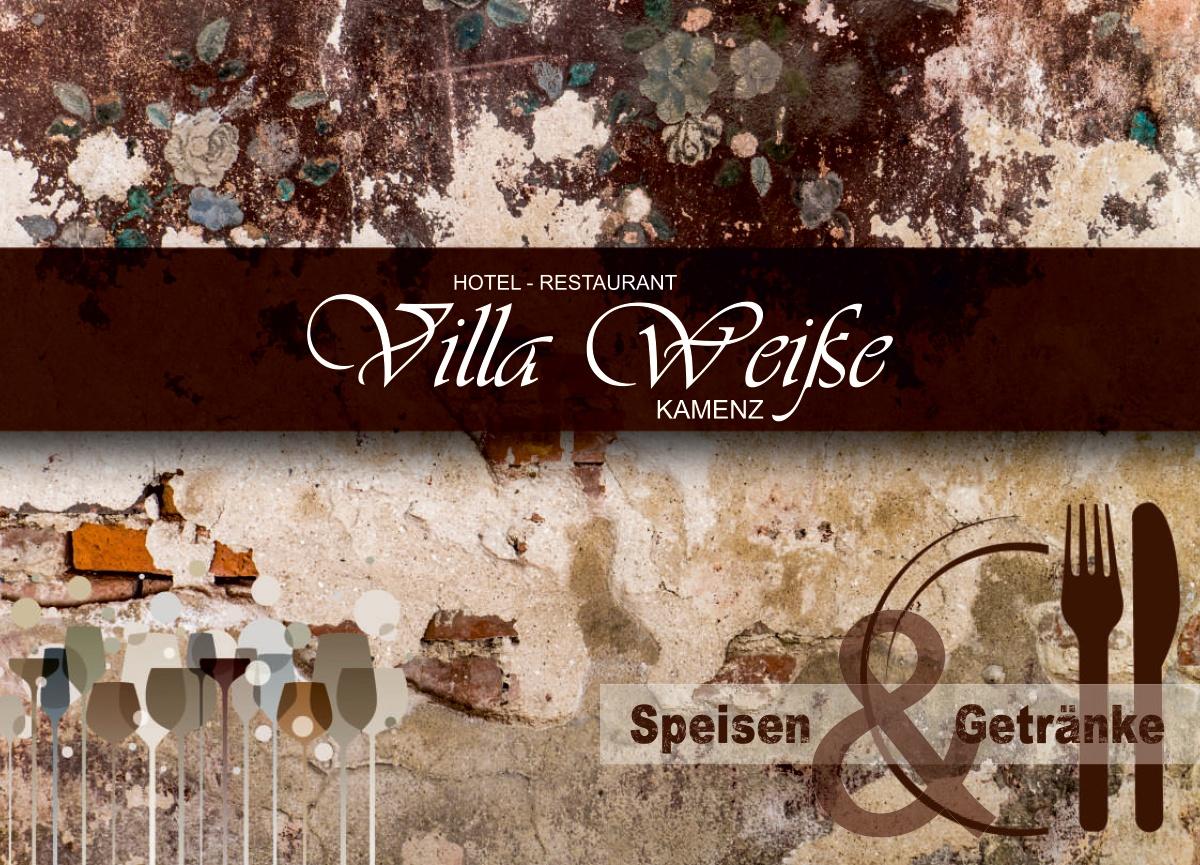 Grafik & Design Speisekarte Referenz - Hotel-Restaurant Villa Weiße GmbH - Kamenz