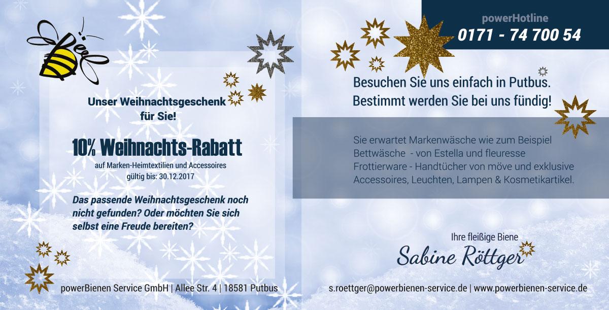 Grafik & Design Referenzen: Weihnachtsangebot powerBienen-Service GmbH, Putbus