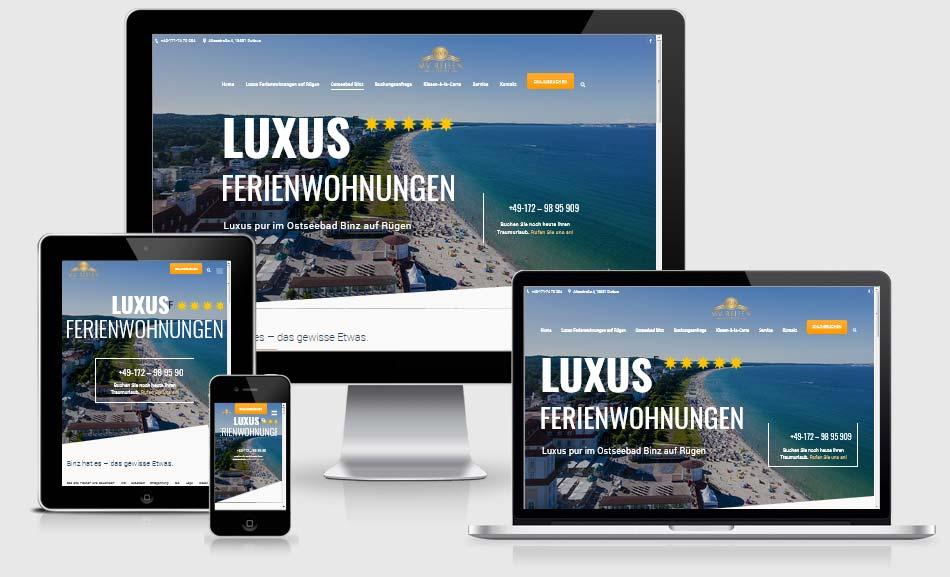 Webdesign Referenz Ferienwohnungen-MV-Reisen Rügen, Responsive Website. Vermieutng von Ferienwohnugnen