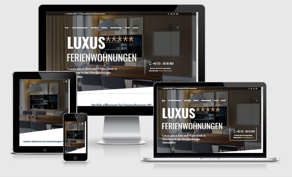 """5 Sterne Luxus Ferienwohnungen MV Villa Mathilde """"Seebrise"""" Binz, Rügen - """"Alte Tuchfabrik"""" Malchow , Mecklenburger Seenplatte"""