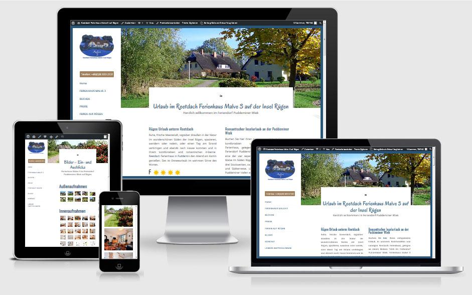 Webdesign Referenz Reetdach Ferienhaus Malve 3, Puddemin