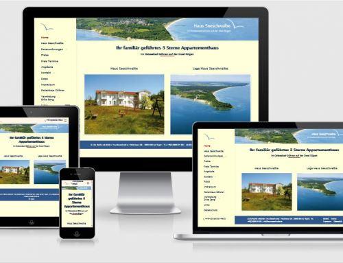 Website Referenz, Haus Seeschwalbe, Göhren