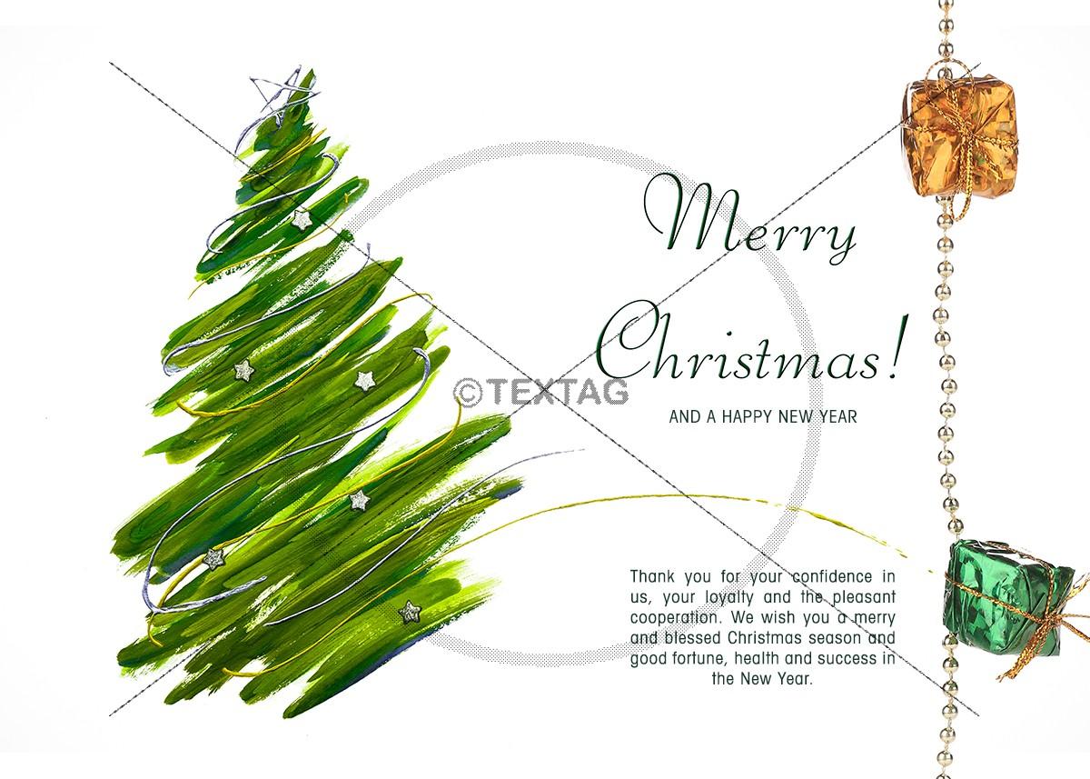 kreative, extravagante Weihnachts E-Card, grüner Weihnachtsbaum mit Spruch auf englisch (269)