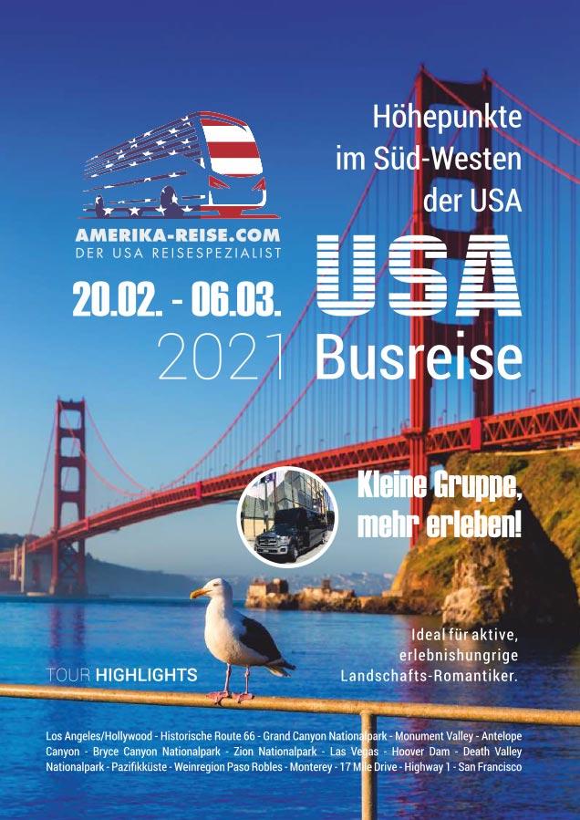 Grafikdesign Referenz: Broschüre Amerika Busreisen - JH Amerika-Heller, Las Vegas, USA - Kulmbach