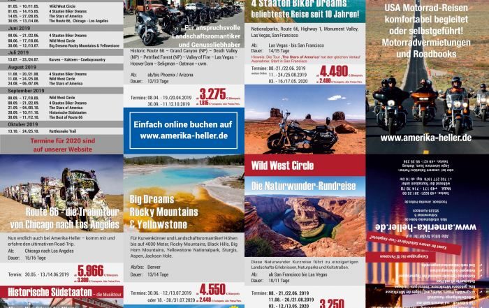 Kreuzfalz- Flyer DIN lang, Reiner Heller JH Amerika-Heller, Las Vegas, USA - Kulmbach, DE