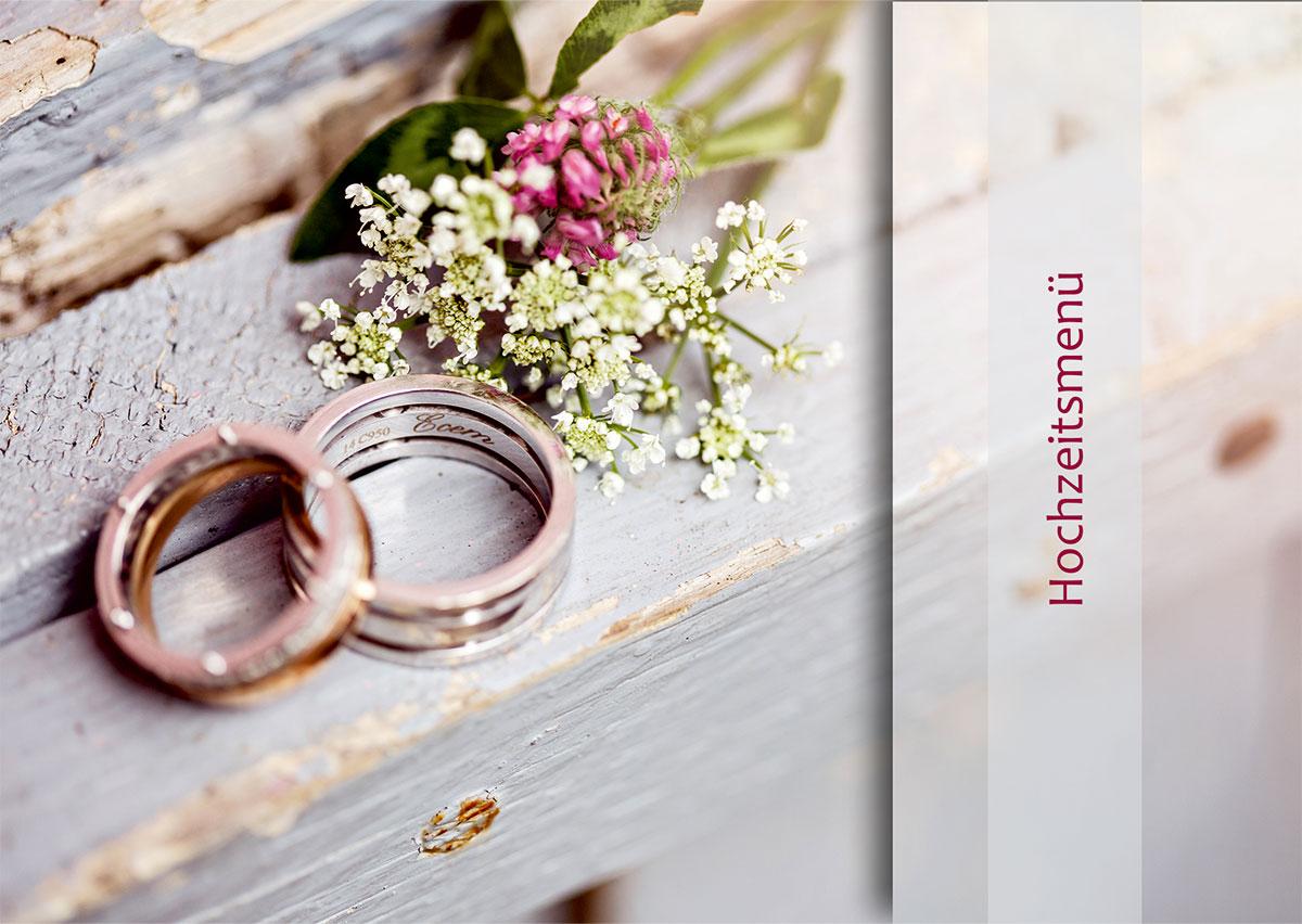 Hochzeitsmenükarte Designvorlage, Deckblatt DIN A5, Querformat (0058)