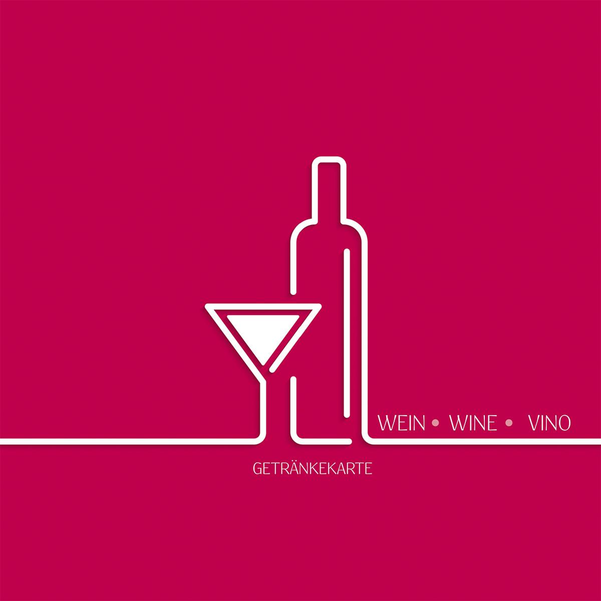 """Deckblatt: Weinkarte Designvorlage """"Wein, Wine, Vino"""", 210 x 210 mm (0073)"""