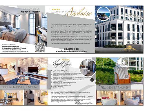 """Flyer Erstellung """"Villa Mathilde, Seebrise Binz"""" powerBienen Vermietung, Putbus"""