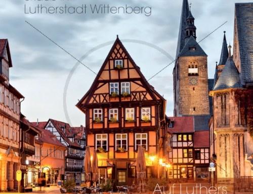 Flyer Vorlage Ferienwohnungen in Wittenberg Lutherstadt, 148×148 mm, 6 Seiten, Wickelfalz